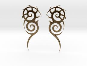 """Tribal """"Death essense"""" Earrings in Polished Bronze"""