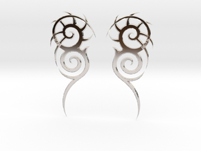 "Tribal ""Death essense"" Earrings in Rhodium Plated Brass"