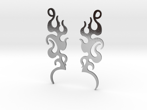 "Tribal ""Dancing Flames"" Earrings in Polished Silver"