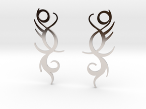 "Tribal ""Life Essence"" Earrings in Rhodium Plated Brass"