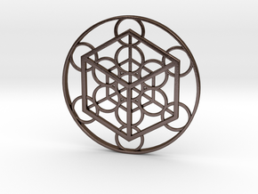 Metatron's Cube - Cube in Polished Bronze Steel