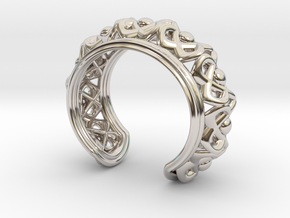 "Bracelet ""Wreath"" in Rhodium Plated Brass: Small"