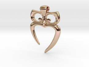 Owl Heart Pendant in 14k Rose Gold
