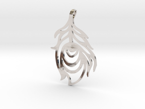 Peacock Feather Pendant in Rhodium Plated Brass