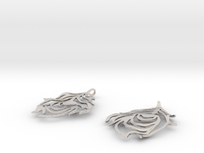Feather Earrings in Rhodium Plated Brass