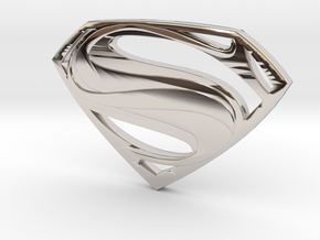 Man Of Steel - Double Sided in Rhodium Plated Brass