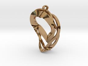 Triple Heart Pendant in Polished Brass