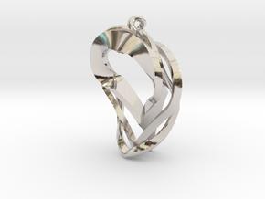 Triple Heart Pendant in Rhodium Plated Brass