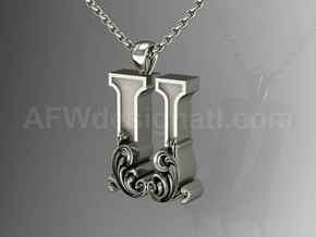 Scroll Letter U – Initial Letter Pendant in Fine Detail Polished Silver