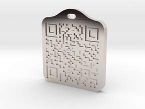 Keychain with Your Own Bitcoin QR code in Platinum