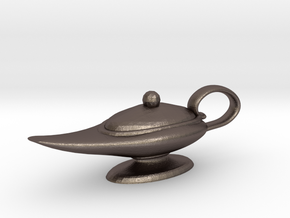 Oil Lamp Pendant in Polished Bronzed Silver Steel