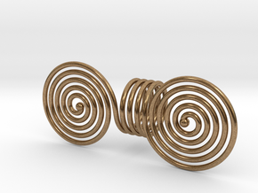 Celtic bronze age double spiral twirl in Natural Brass