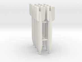 Set of 8 M-13 rocket in 1:24 Scale in White Natural Versatile Plastic