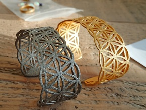 Flower of life bracelet in Polished Gold Steel