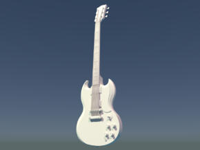 Gibson SG, Scale 1:6 in White Processed Versatile Plastic