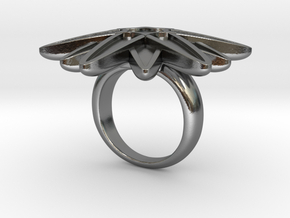 Starburst Statement Ring in Polished Silver: 6 / 51.5