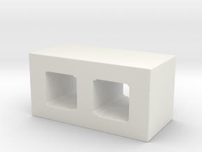 1/14 Cinder Block in White Natural Versatile Plastic