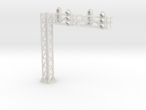 Two Track Cantilever Block Signal  HO Scale in White Natural Versatile Plastic