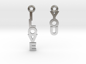 """I love you"" - Cute messages earings in Natural Silver"