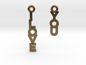 """I love you"" - Cute messages earings in Natural Bronze"