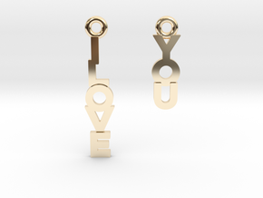 """I love you"" - Cute messages earings in 14k Gold Plated Brass"