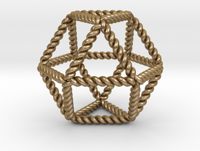 """Twisted Cuboctahedron RH 2"""" in Polished Gold Steel"""