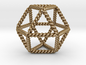 """Twisted Cuboctahedron LH 2""""  in Polished Gold Steel"""