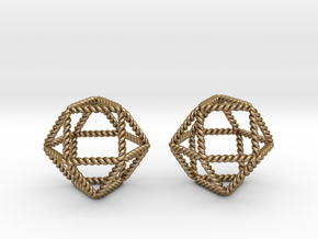 Twisted Cuboctahedron Pair in Polished Gold Steel