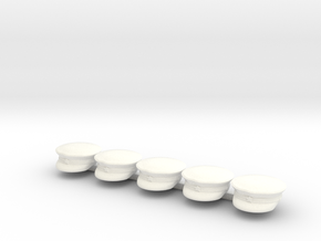 5 x Russian Cap in White Processed Versatile Plastic