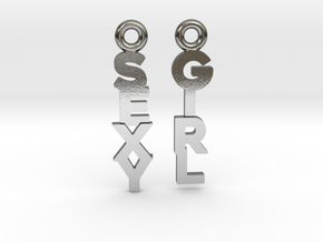 """""""Sexy Girl"""" - Naughty messages earings in Polished Silver: Extra Small"""