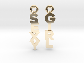 """""""Sexy Girl"""" - Naughty messages earings in 14k Gold Plated Brass: Extra Small"""