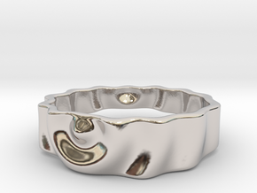 Ringpples Ring 3 in Rhodium Plated Brass