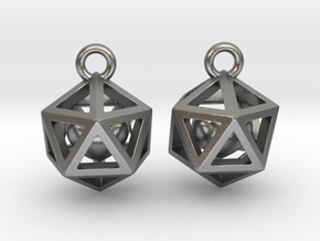 Polyhedron earrings with interlocked heart in Natural Silver (Interlocking Parts)