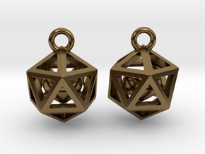 Polyhedron earrings with interlocked heart in Polished Bronze (Interlocking Parts)