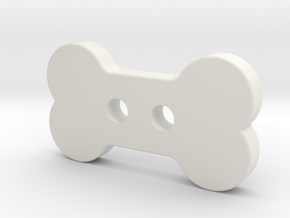 Bone Button in White Natural Versatile Plastic