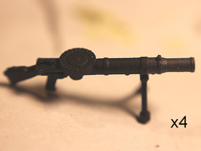 28mm Lewis machine guns (4) in Smoothest Fine Detail Plastic
