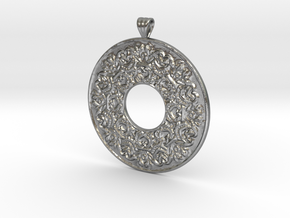 Victorian Pendant with scalloped bail (mirror back in Natural Silver