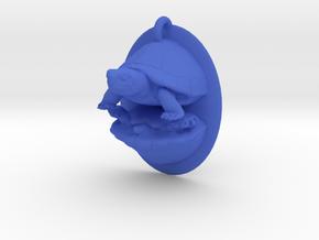 large plastic weird double turtle pendant in Blue Processed Versatile Plastic