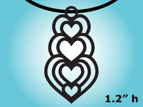 Heart Pendent Necklace Charm in Natural Silver