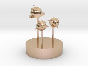 Alien planet.stl in 14k Rose Gold Plated Brass