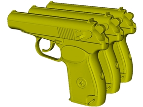 1/24 scale USSR KGB Makarov pistols x 3 in Smooth Fine Detail Plastic