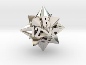 Icotetrhombic d12 die in Rhodium Plated Brass