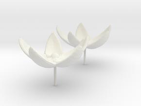 Flower Studs in White Natural Versatile Plastic