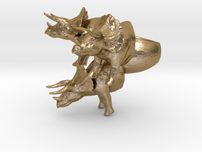crazy big triceratops ring size 9 in Polished Gold Steel