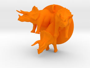 large triceratops pendant in Orange Processed Versatile Plastic