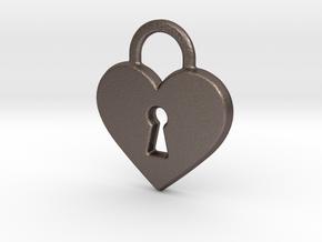 Locked Heart Pendant in Polished Bronzed Silver Steel