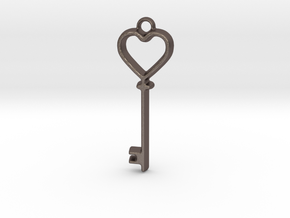 Heart Key Pendant in Polished Bronzed Silver Steel