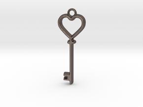Heart Key Pendant in Polished Bronzed Silver Steel
