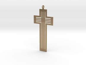 Designer Cross in Polished Gold Steel