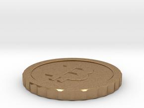 Bitcoin, 26 mm diameter in Natural Brass